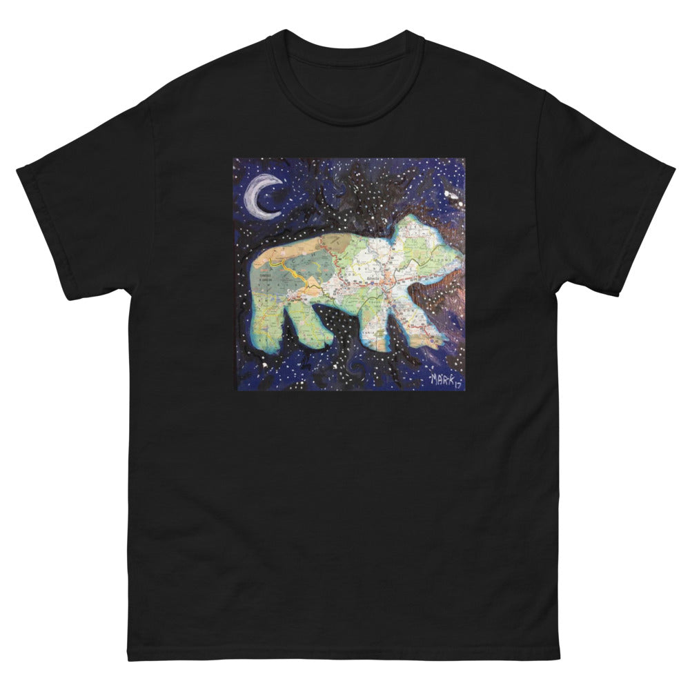 Western NC Map Art Bear Men's heavyweight tee