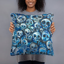 Load image into Gallery viewer, Blue Skulls pillow