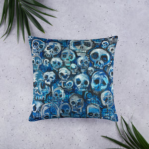 Blue Skulls pillow