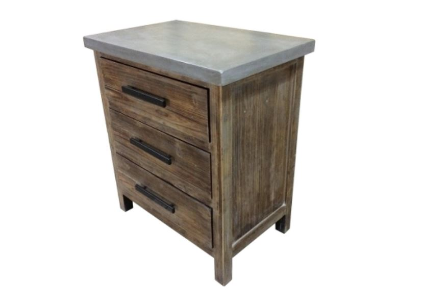 Venezio Small Cabinet 3 Drawers w/ Faux Cement Top