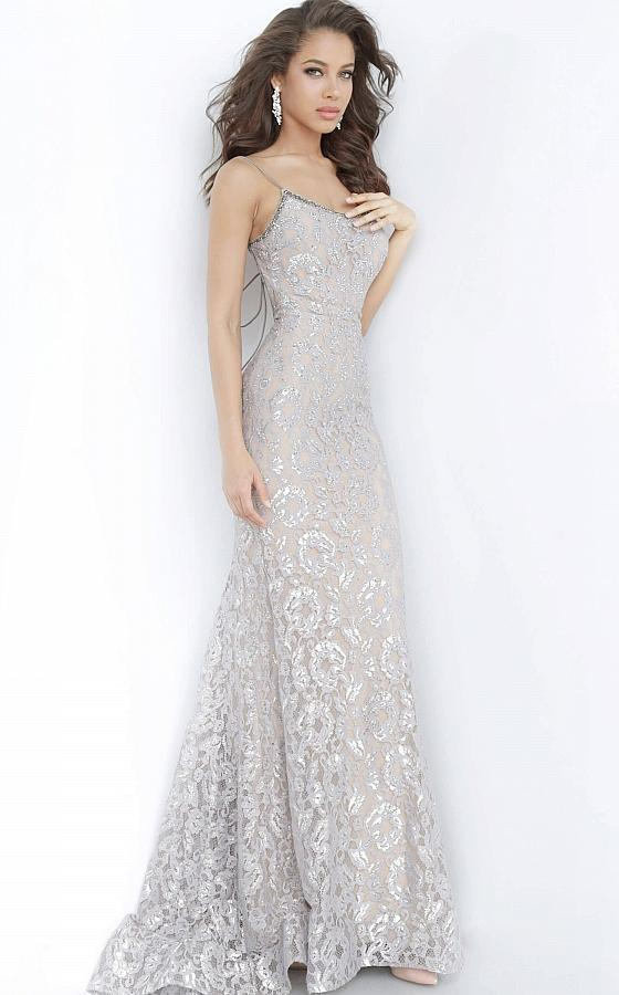 Jovani - 00355SC Spaghetti Strap Backless Lace Trumpet Prom Dress In Silver and Neutral