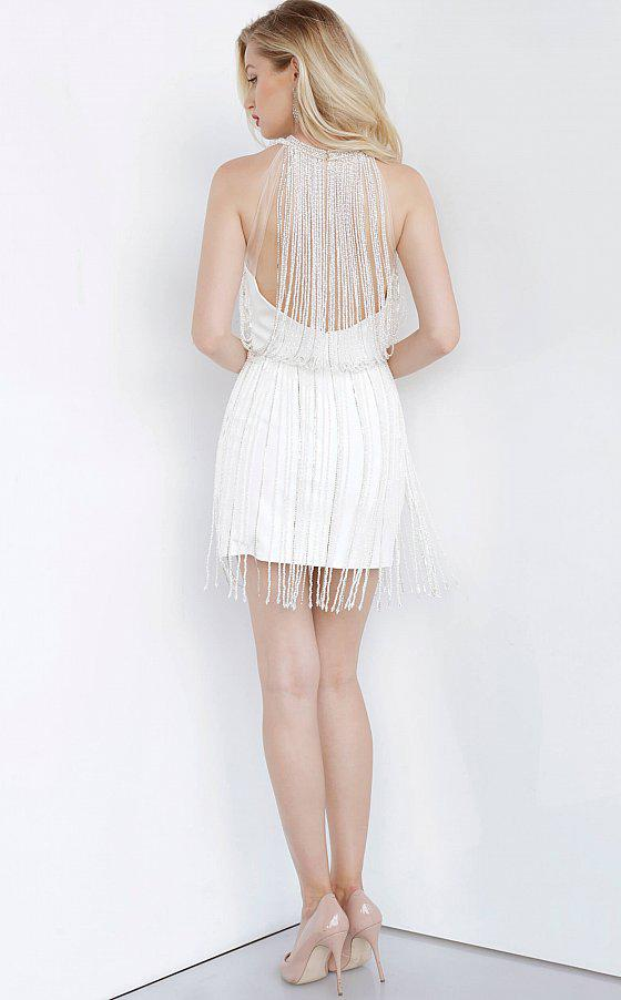Jovani - 00570 Fringed Jewel Cocktail Dress In White