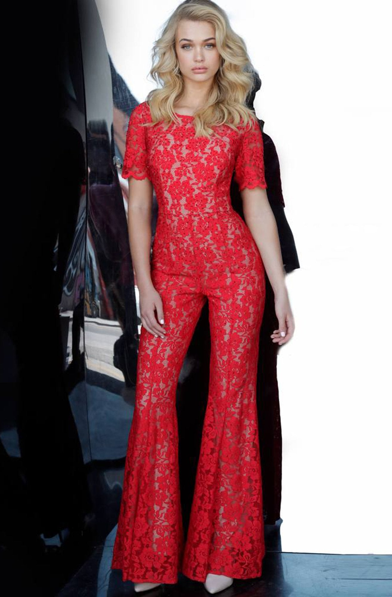 Jovani - 00651 Short Sleeve Beaded Lace Jumpsuit In Red