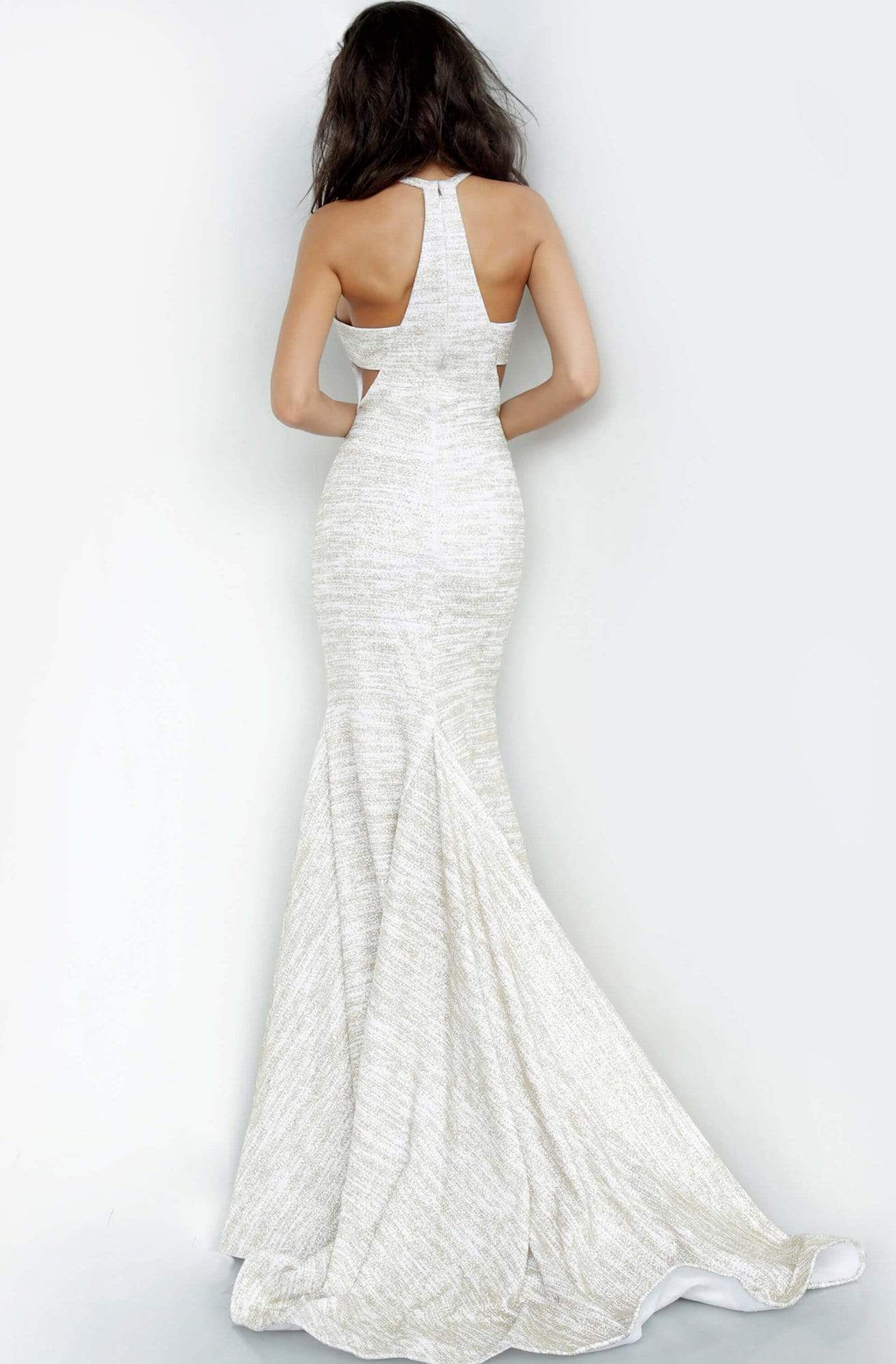 Jovani - 00688 Sleeveless Jewel Neck Stretch Glitter Mermaid Dress In White and Gold