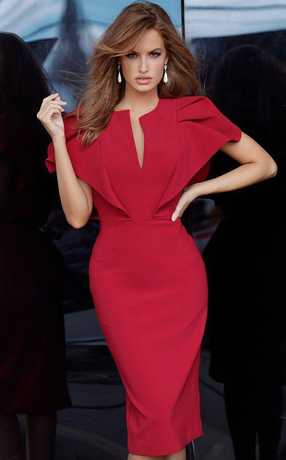 Jovani - Knee Length Angel Sleeve Sheath Dress 00759SC In Red