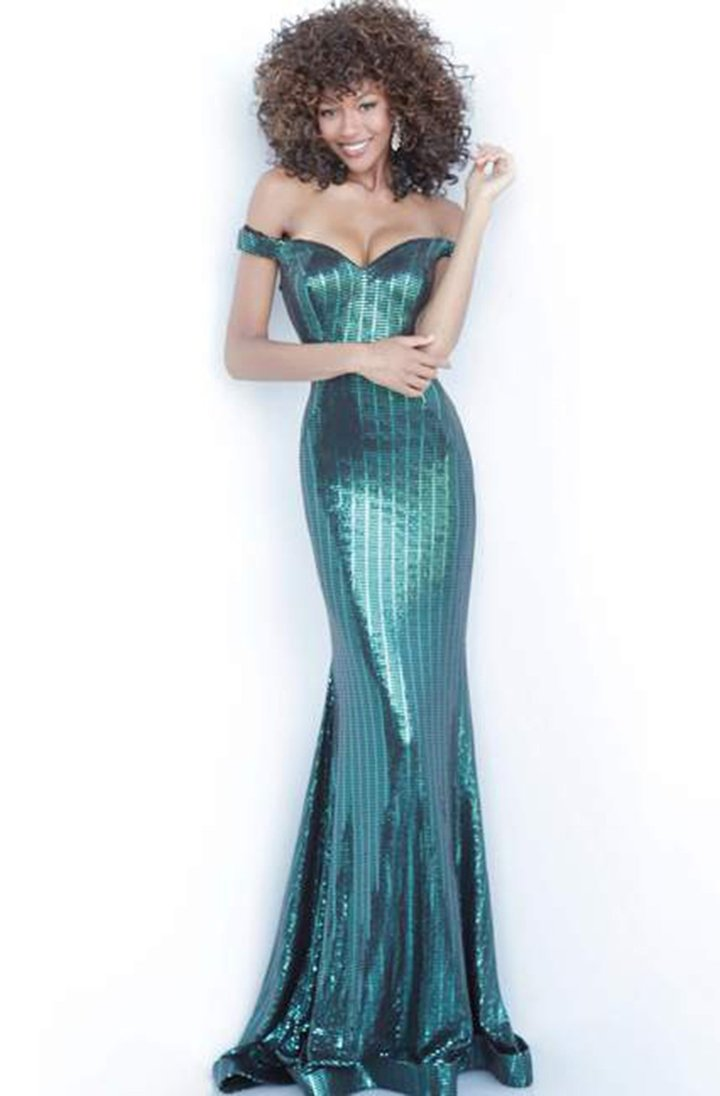 Jovani - Metallic Striped Off Shoulder Trumpet Gown 00974SC In Black and Green