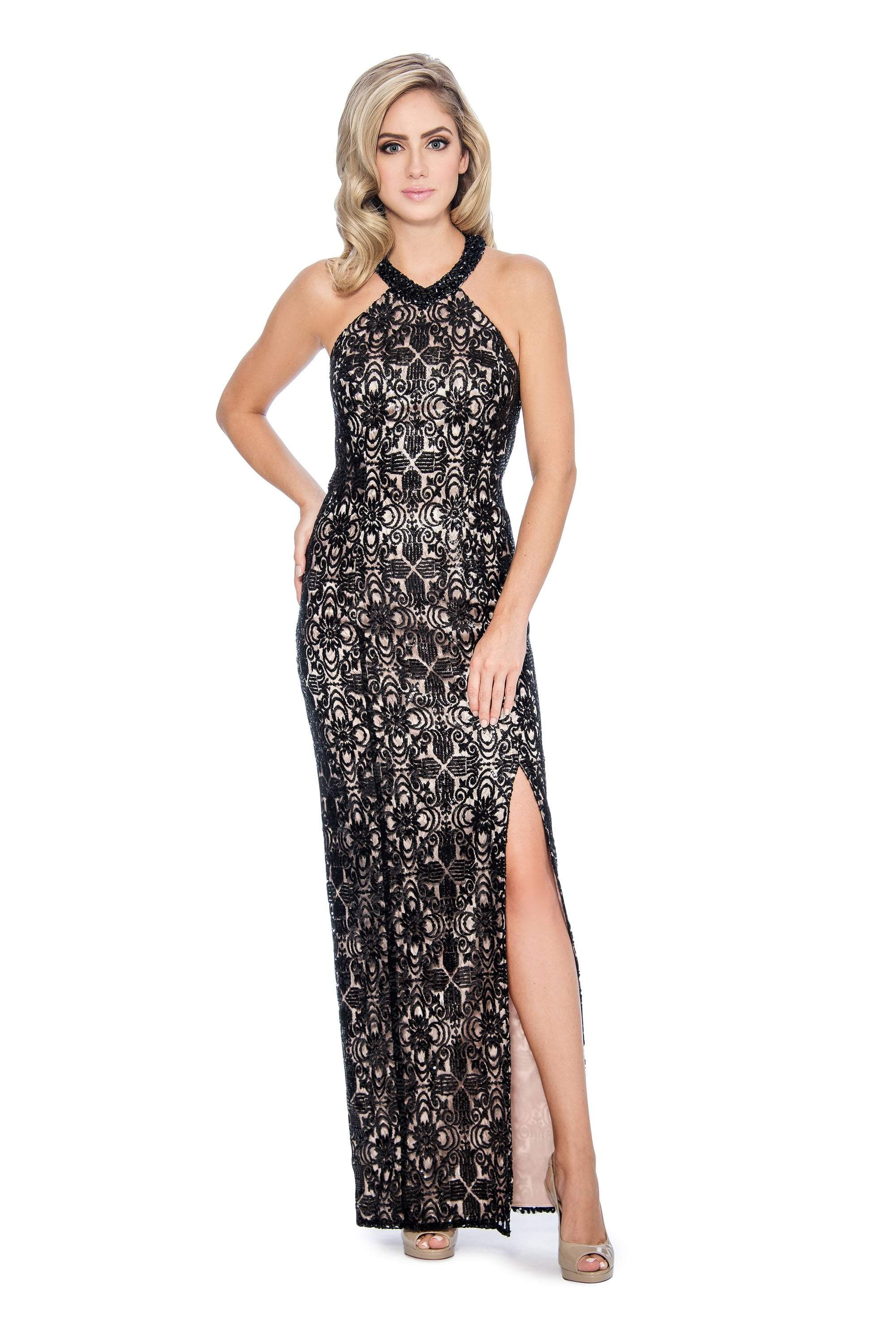 Decode 1.8 - 184400 Sequined Halter Dress with Back Cutouts In Black and Pink