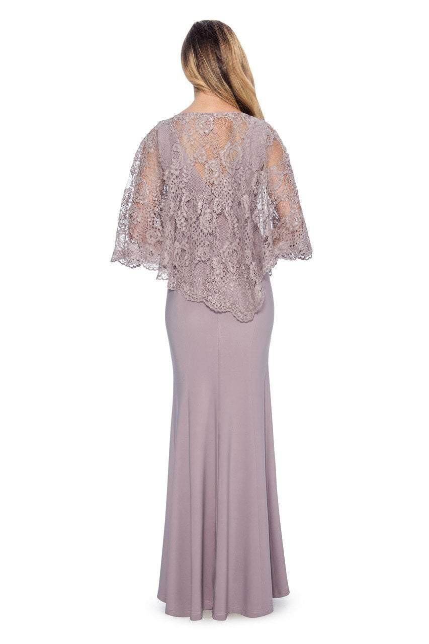 Decode - 184553 Jersey Knit Long Gown with Lace Cape in Purple and Pink