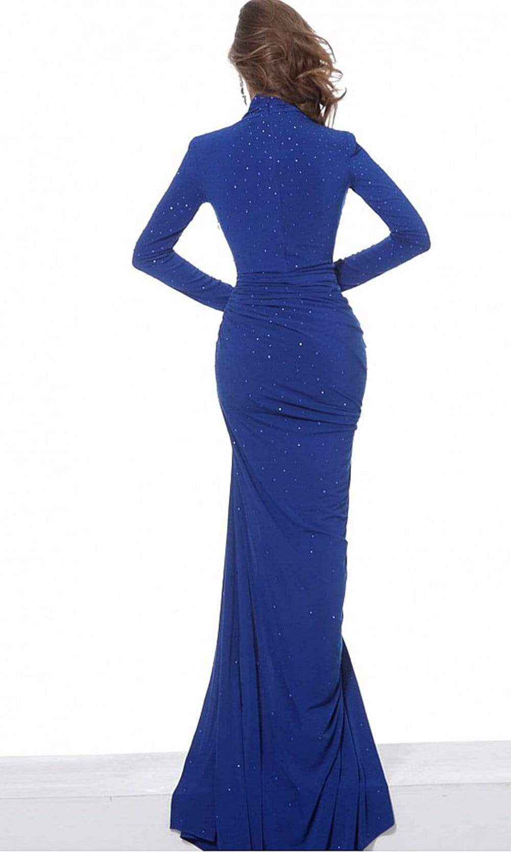 Jovani - 02566 Long Sleeve High Neck Beaded Jersey Evening Dress Evening Dresses