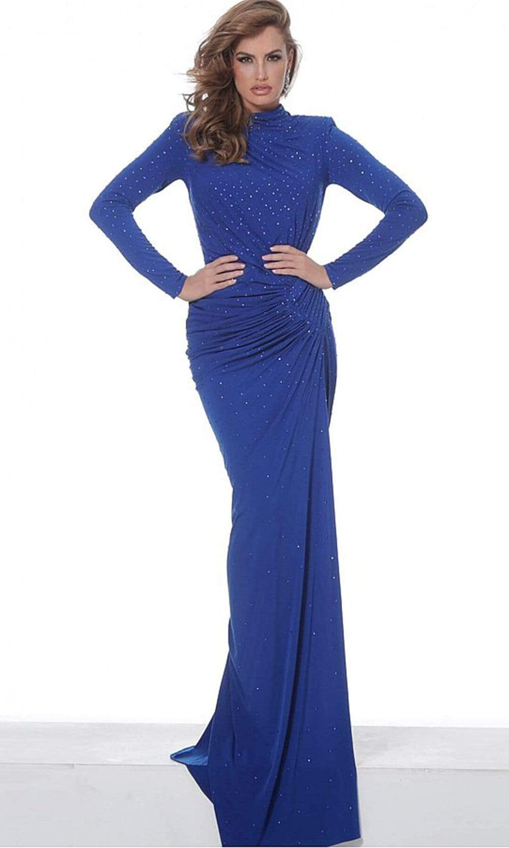 Jovani - 02566 Long Sleeve High Neck Beaded Jersey Evening Dress Evening Dresses 00 / Royal