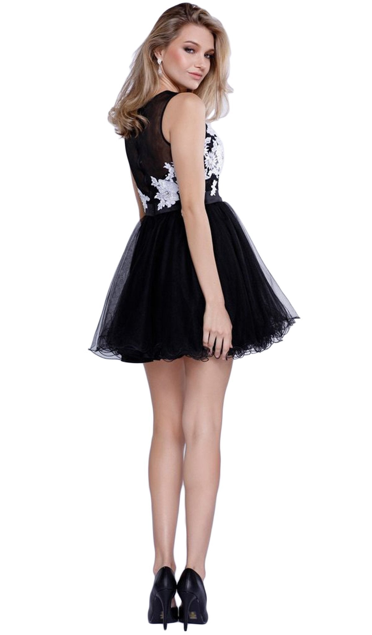 Nox Anabel - Embroidered Illusion Neck A-line Dress 6040SC