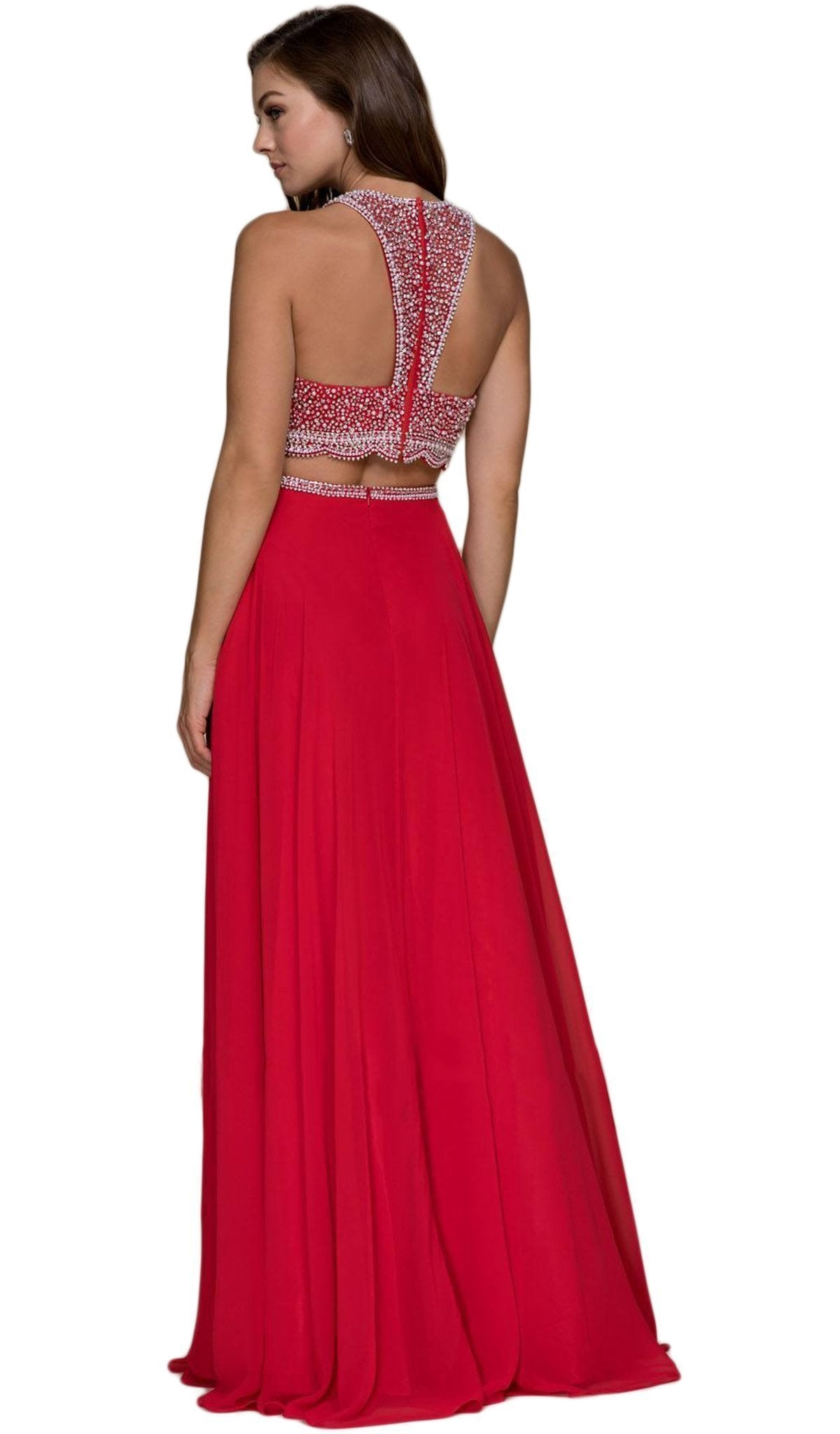 Nox Anabel - Beaded Two Piece Halter Chiffon Dress G095SC