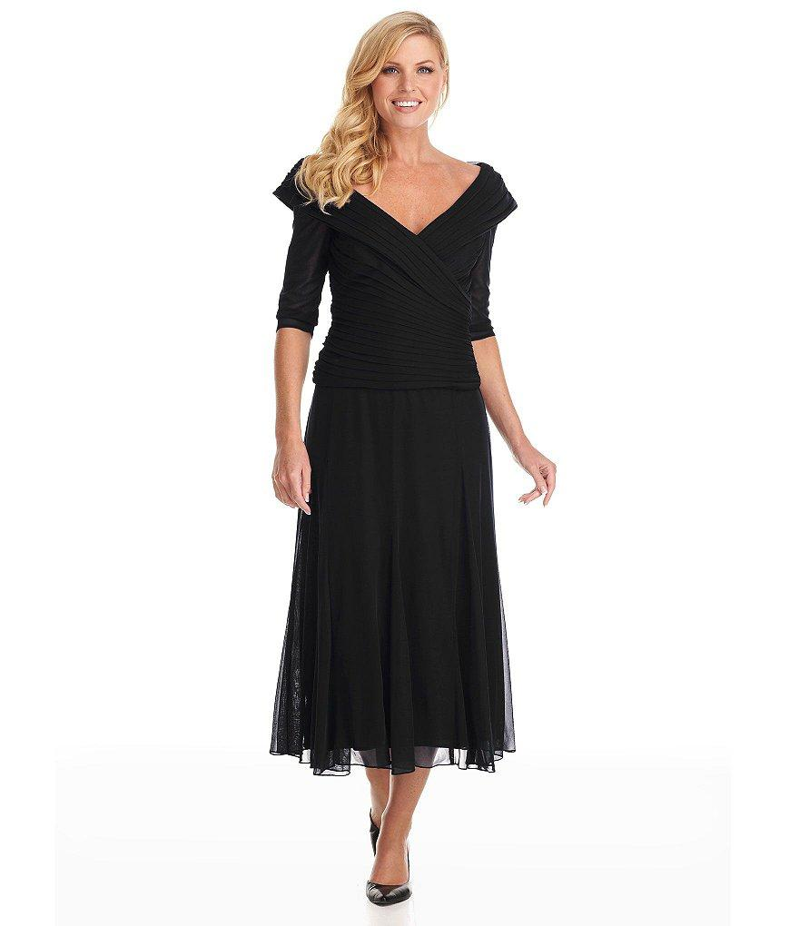 Alex Evenings - Off Shoulder Tea Length Dress 132141 in Black