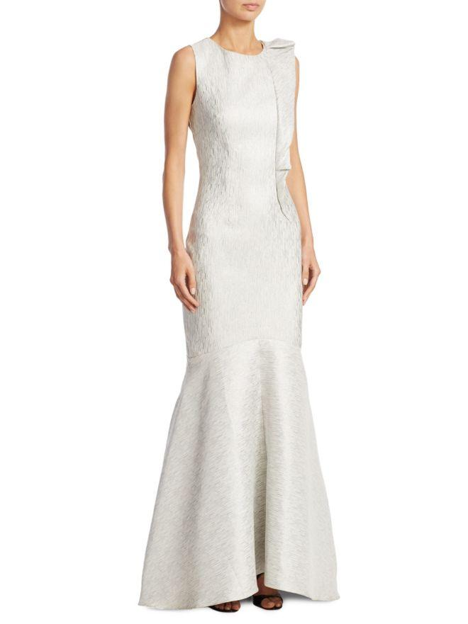 Nero By Jatin Varma - 480073 Ruffle Accented Brocade Gown In Silver