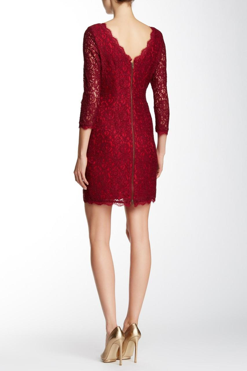 Adrianna Papell - Quarter Length Sleeve Lace Dress 41864780 in Red