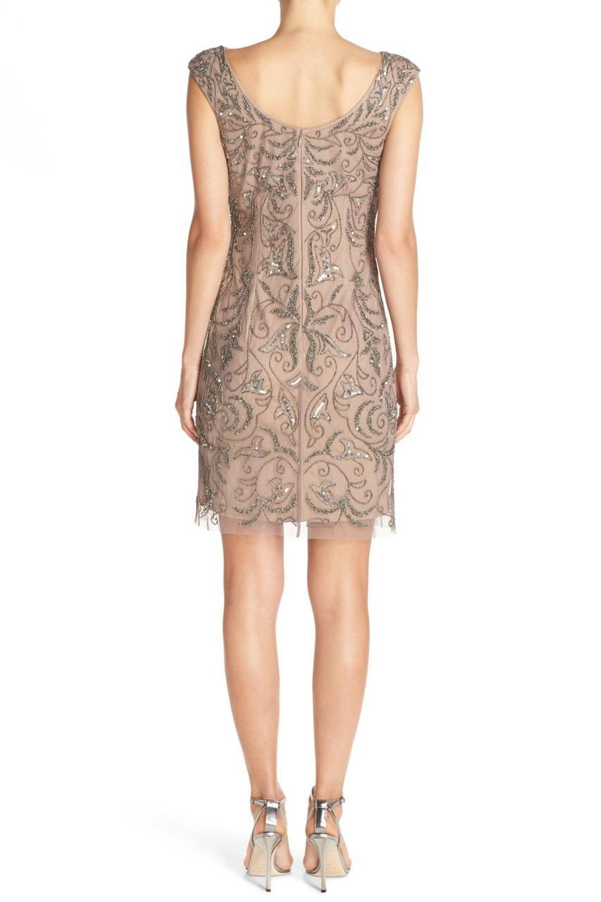 Adrianna Papell - Beaded Crochet Lace Dress 41888060 in Neutral
