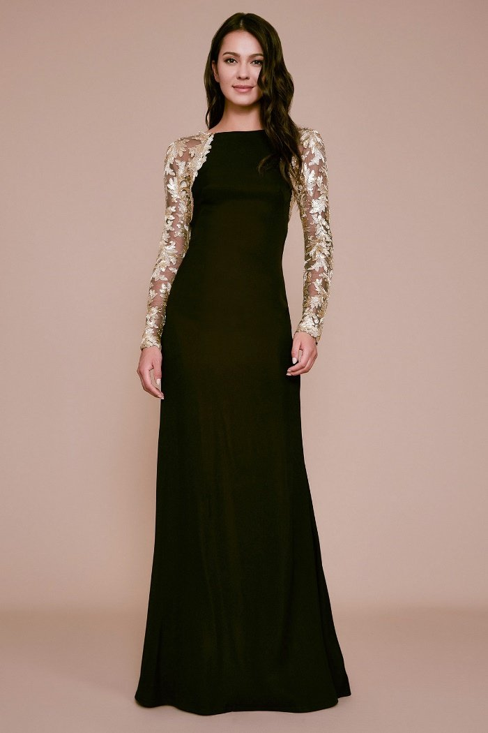 Tadashi Shoji - Long Sleeve Sheer Lace Long Crepe Gown In Black and Gold