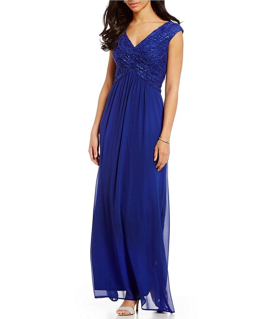 Sangria - DWKOJ57 Sequin V-neck A-line Dress in Blue