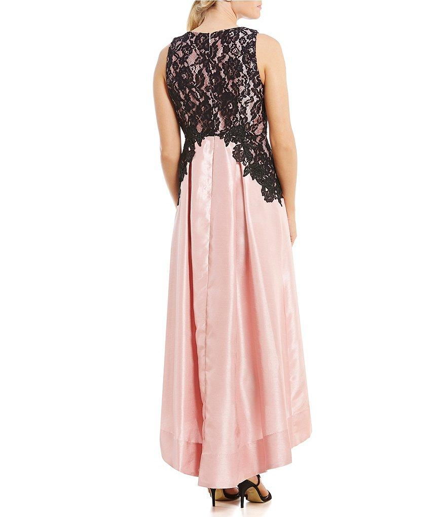 Sangria - SAFC1152 Lace Jewel A-line Dress in Black and Pink