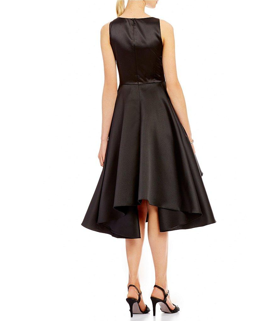 Adrianna Papell - AP1E201685 Sleeveless Tiered Mikado Tea Length Dress in Black