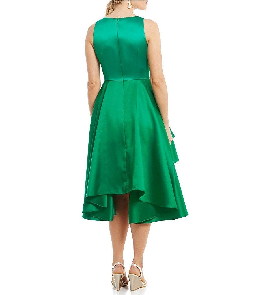 Adrianna Papell - AP1E201685 Sleeveless Tiered Mikado Tea Length Dress in Green