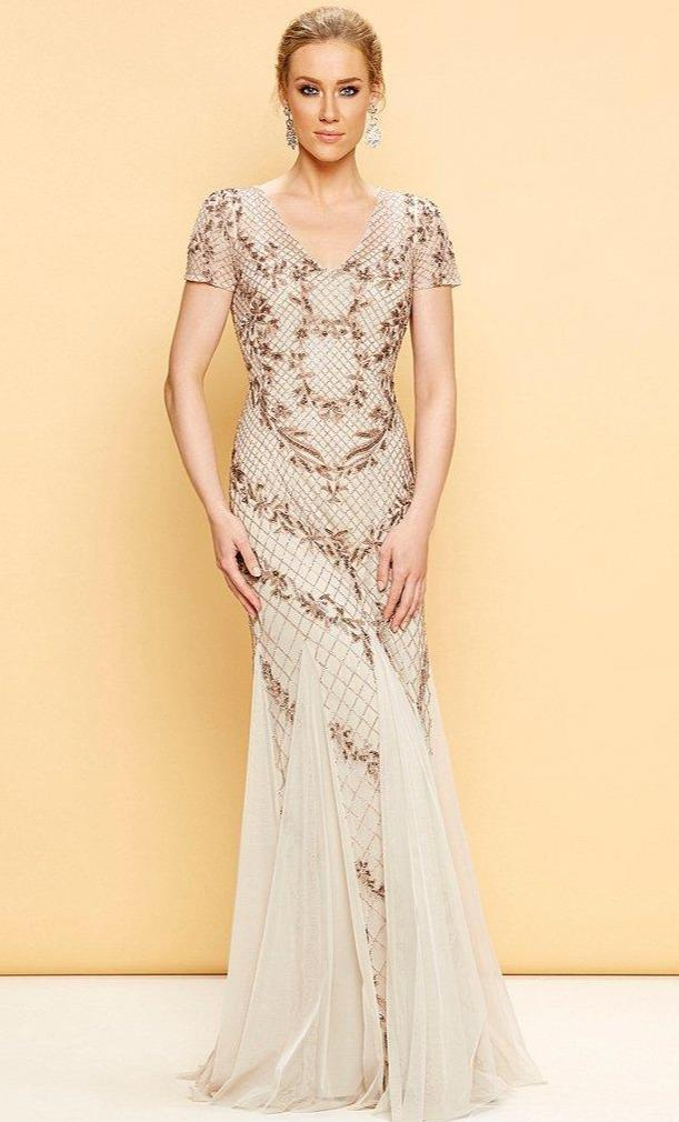 Adrianna Papell - AP1E201532 Short Sleeve Beaded Mermaid Gown in Neutral