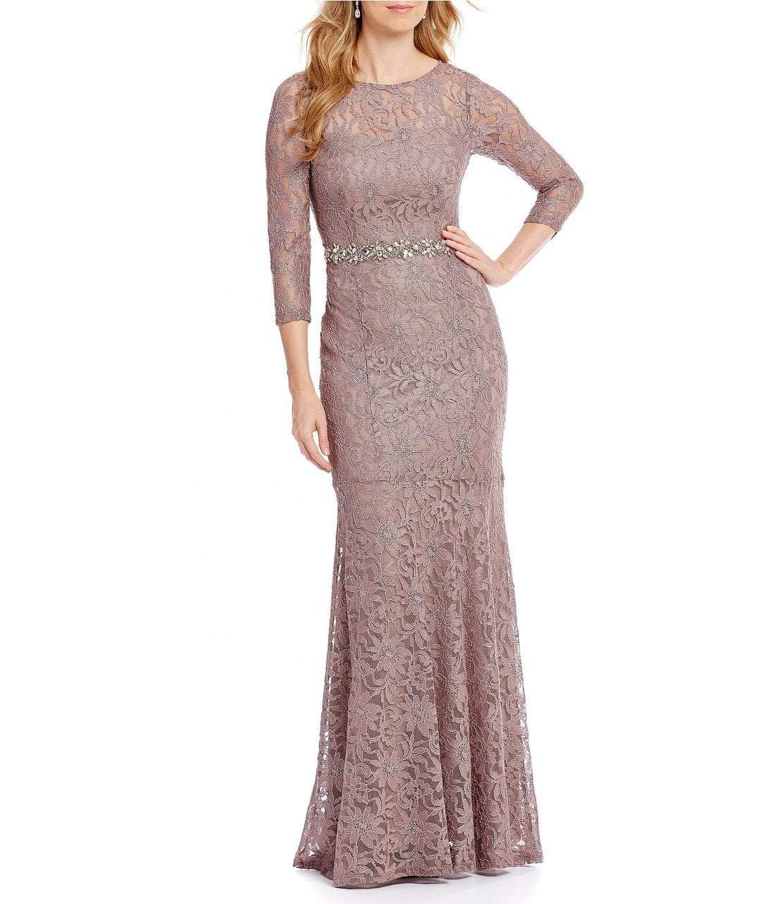 Decode 1.8 - 184138 Long Sleeves Lace Evening Gown in Gray