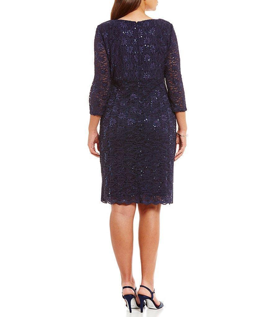 Alex Evenings Scalloped V Neck Lace Dress 4121805 In Blue