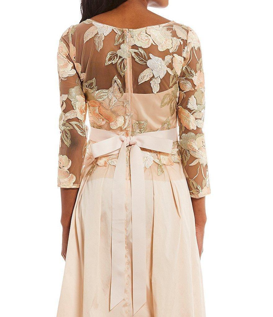 Adrianna Papell - AP1E203037 Floral Embroidered Taffeta A-line Dress in Neutral and Orange