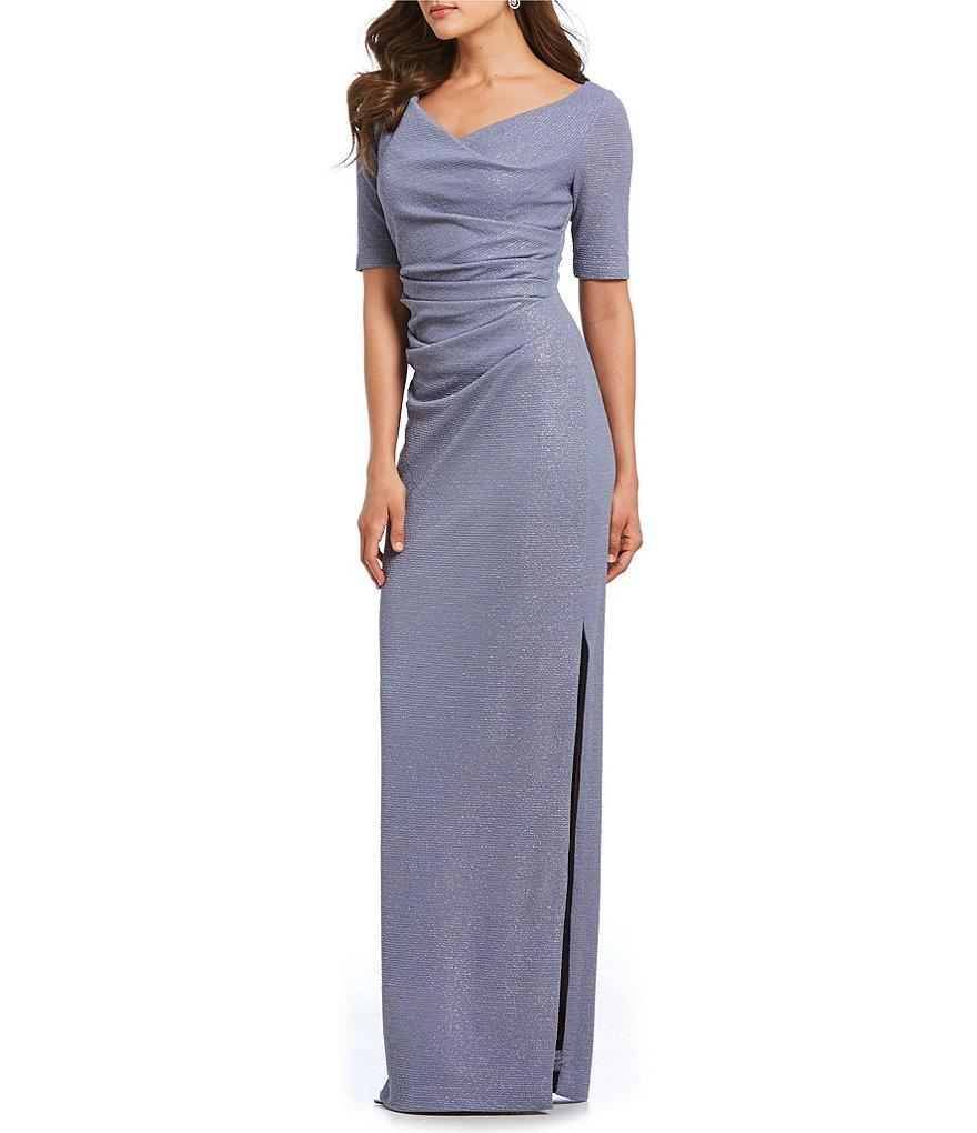 Adrianna Papell - AP1E203509 Ruched V-neck Column Dress With Slit In Silver