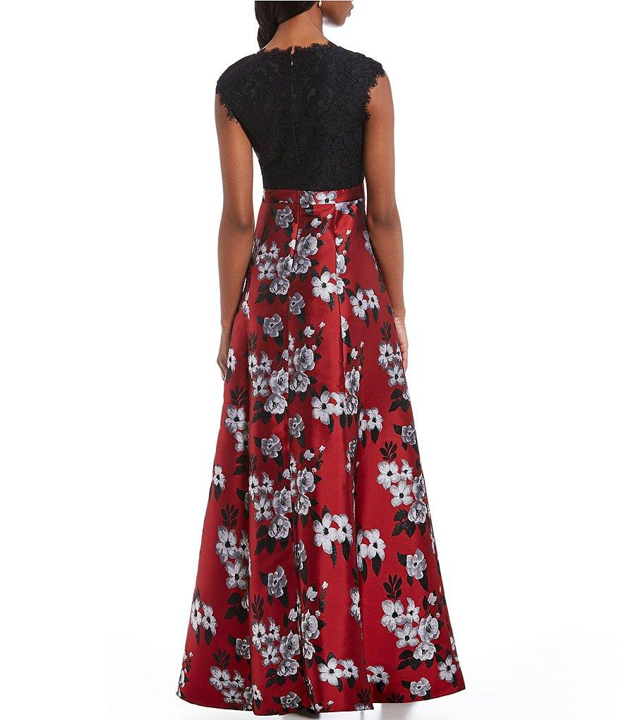 Aidan Mattox - MN1E203206 Floral Lace Metallic Jacquard A-line Dress In Red and Multi-Color