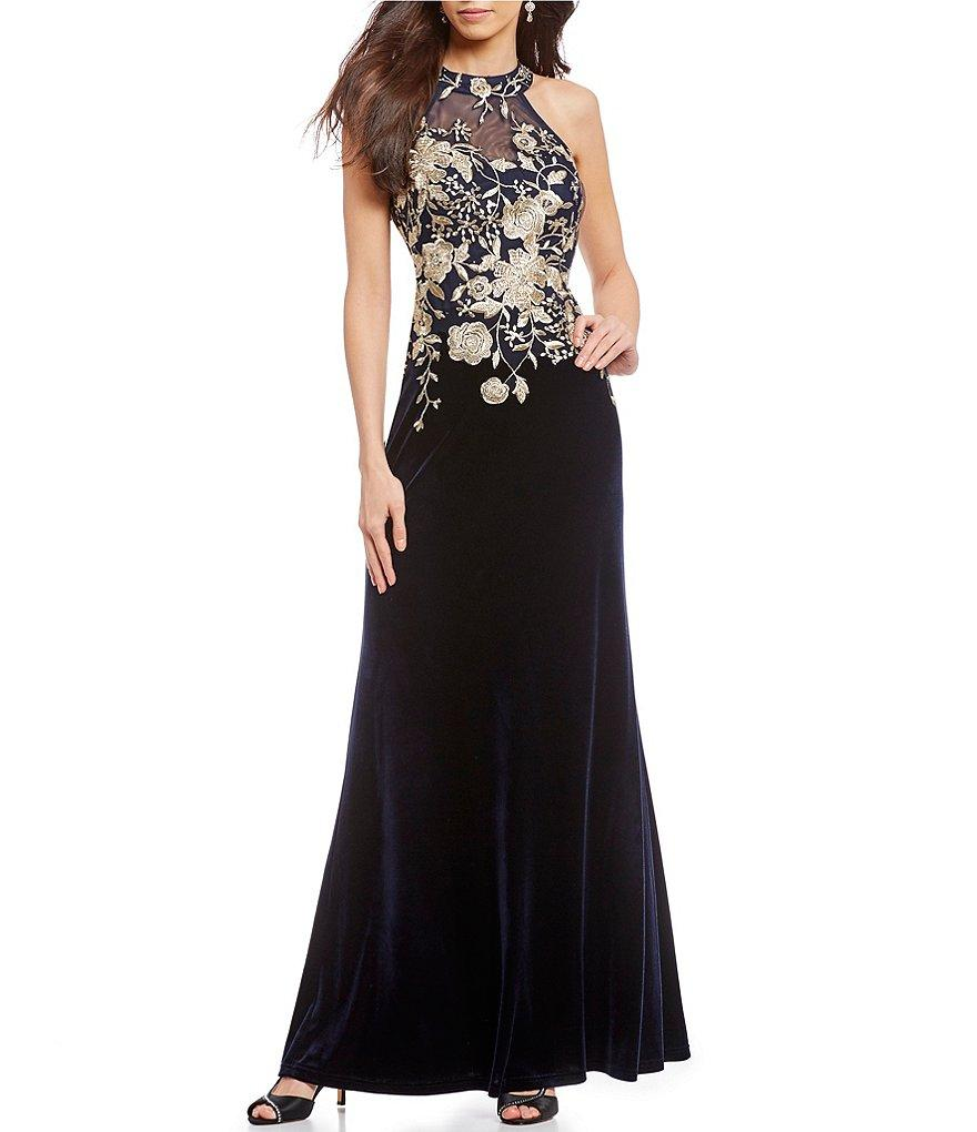 Cachet - 59820 Gilt Floral Embroidered Illusion Halter Gown In Blue and Gold