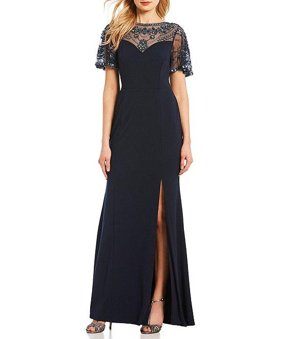 Aidan Mattox - MD1E203616 Beaded Neckline Slit Column Gown In Blue