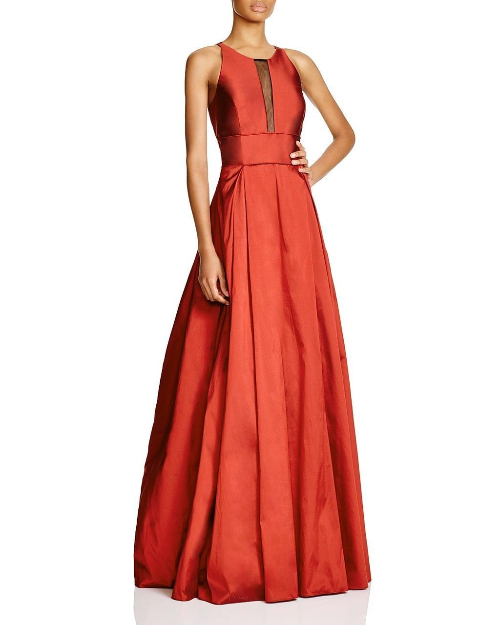 Aidan Mattox - Illusion Paneled Taffeta Evening Gown 54467610  In Red