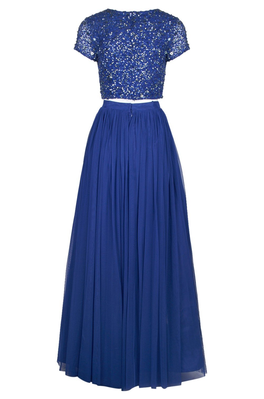 Adrianna Papell - 91922190 Two-Piece Sequined Short Sleeve Long Dress In Blue
