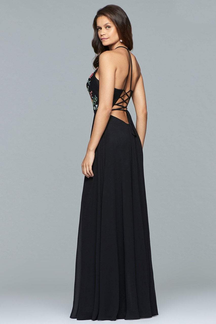 Faviana - Plunging Floral Embroidered Chiffon Gown 10000 in Black