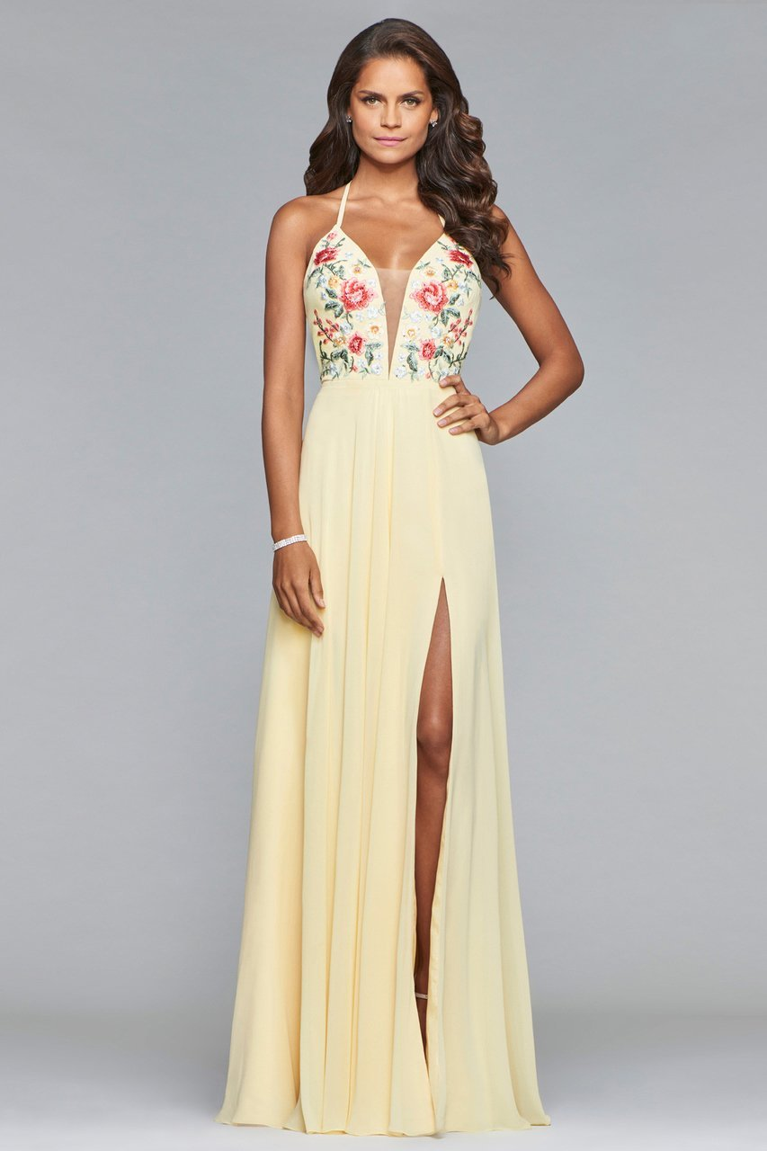 Faviana - Plunging Floral Embroidered Chiffon Gown 10000 in Neutral