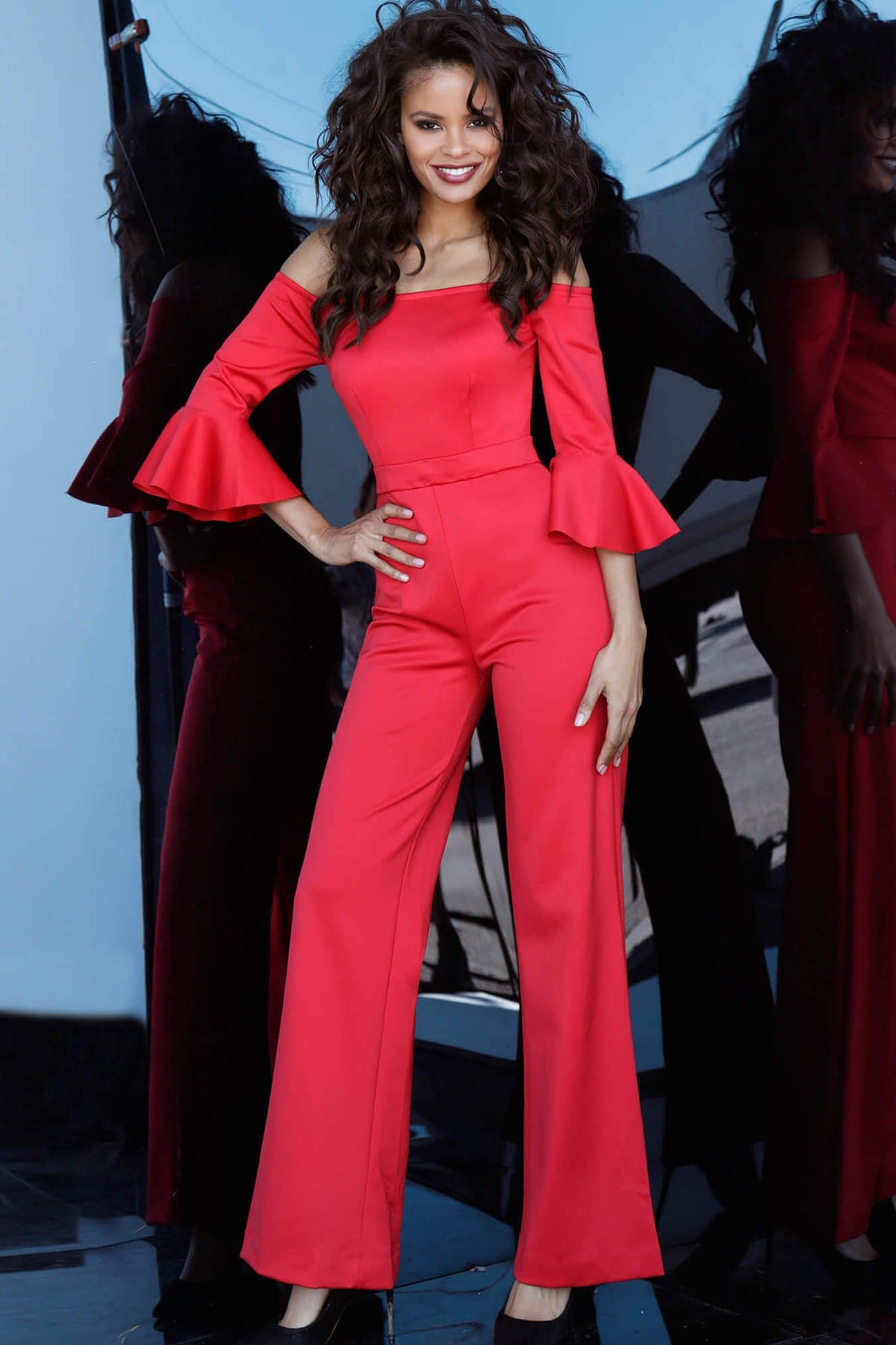 Jovani - 1006 Off-Shoulder Bell Sleeve Jumpsuit In Red