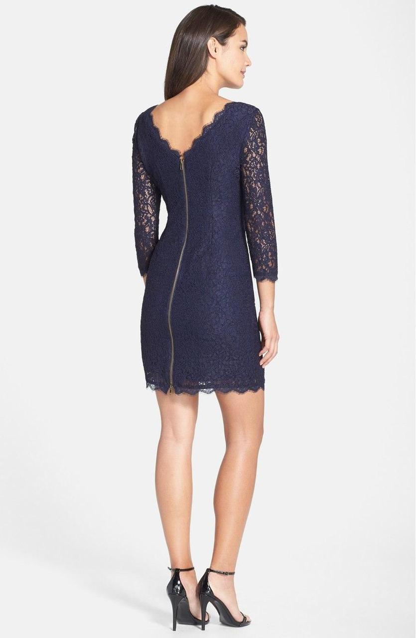Adrianna Papell - Quarter Length Sleeve Lace Dress 41864780 in Blue