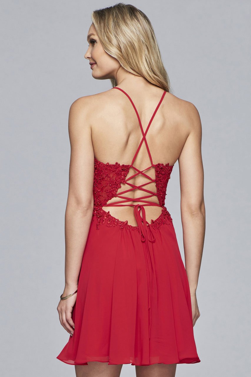 Faviana - 10151 Embellished Chiffon A-line Cocktail Dress in Red