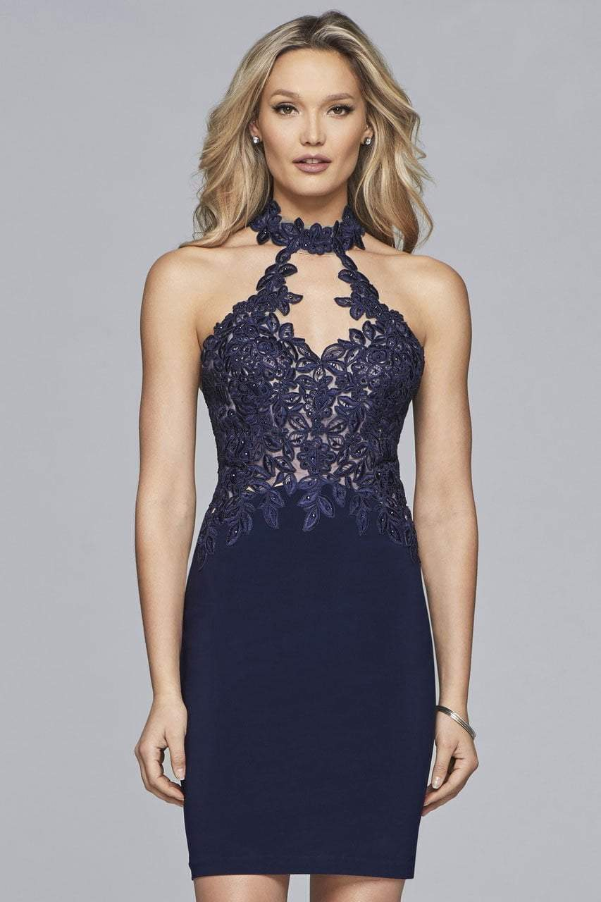 Faviana - 10156 Lace Applique Sheath Cocktail Dress in Blue