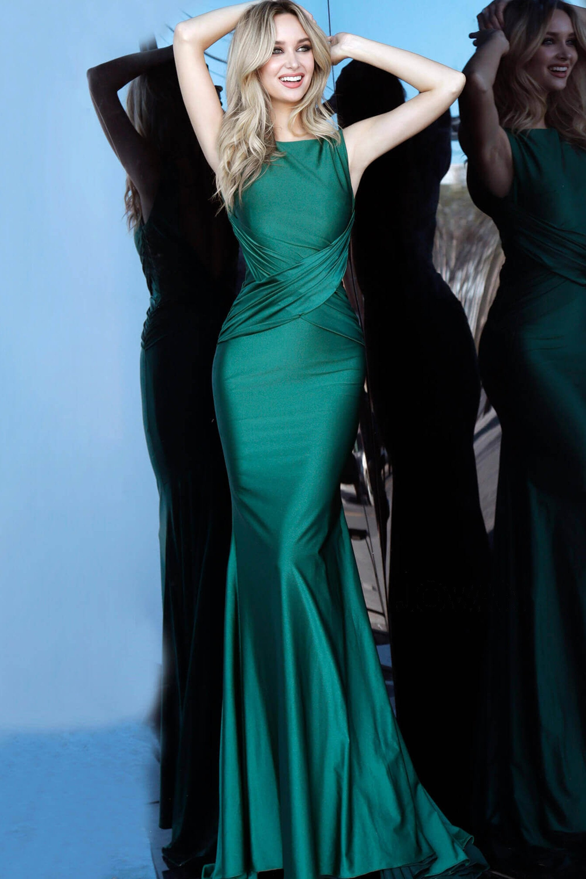 Jovani - 1016 Sleeveless Low V Back Ruched Mermaid Evening Dress In Green