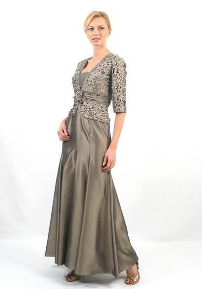 1016 Straight Floral Long Dress with Jacket in Silver