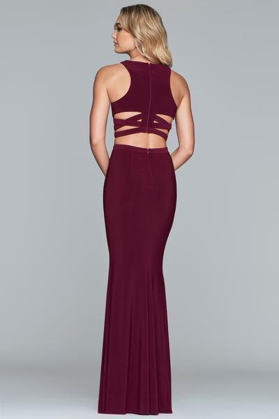 Faviana - Two Piece Halter Jersey Fitted Dress 10206 In Red