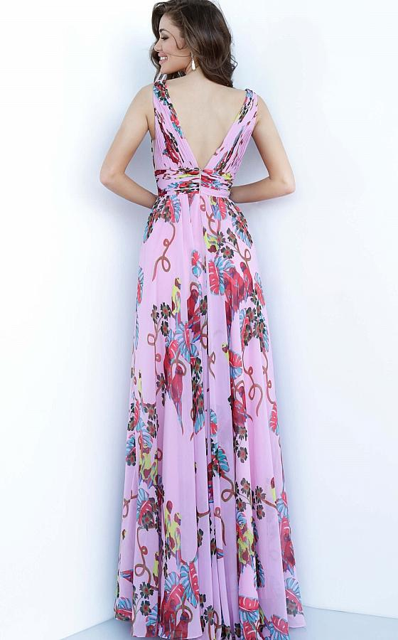 Jovani - 1032 Printed Deep V-neck Chiffon A-line Dress In Pink and Print