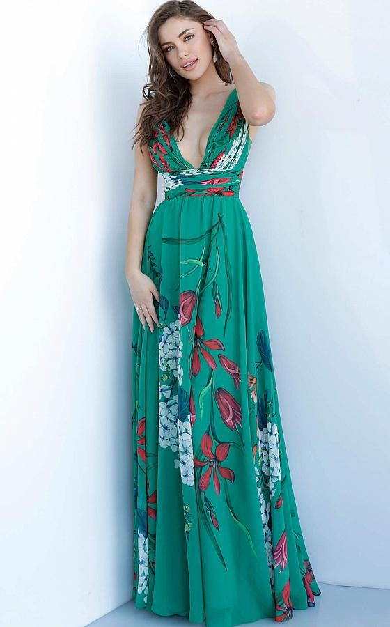Jovani - 1033 Sleeveless Printed Deep V-neck A-line Dress In Green and Print