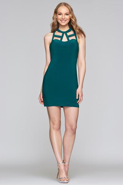 Faviana - S10355 Jewel Neck Jersey Sheath Dress With Cutouts In Green