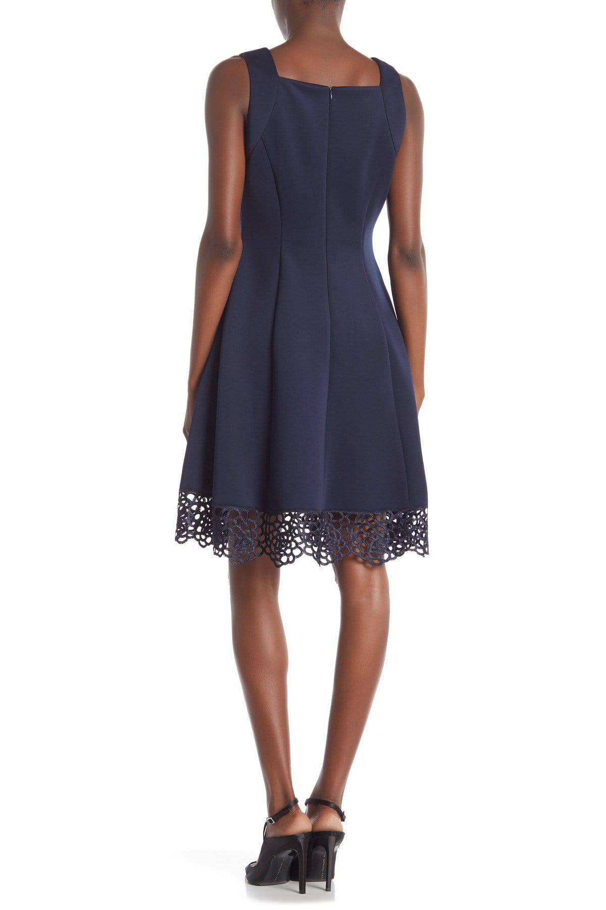 Donna Ricco - DR50624 Sleeveless V Neck Woven lace Hem A-line Dress In Blue