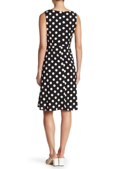 Taylor - 1379M Polka Dot Jersey A-line Dress In Black and White
