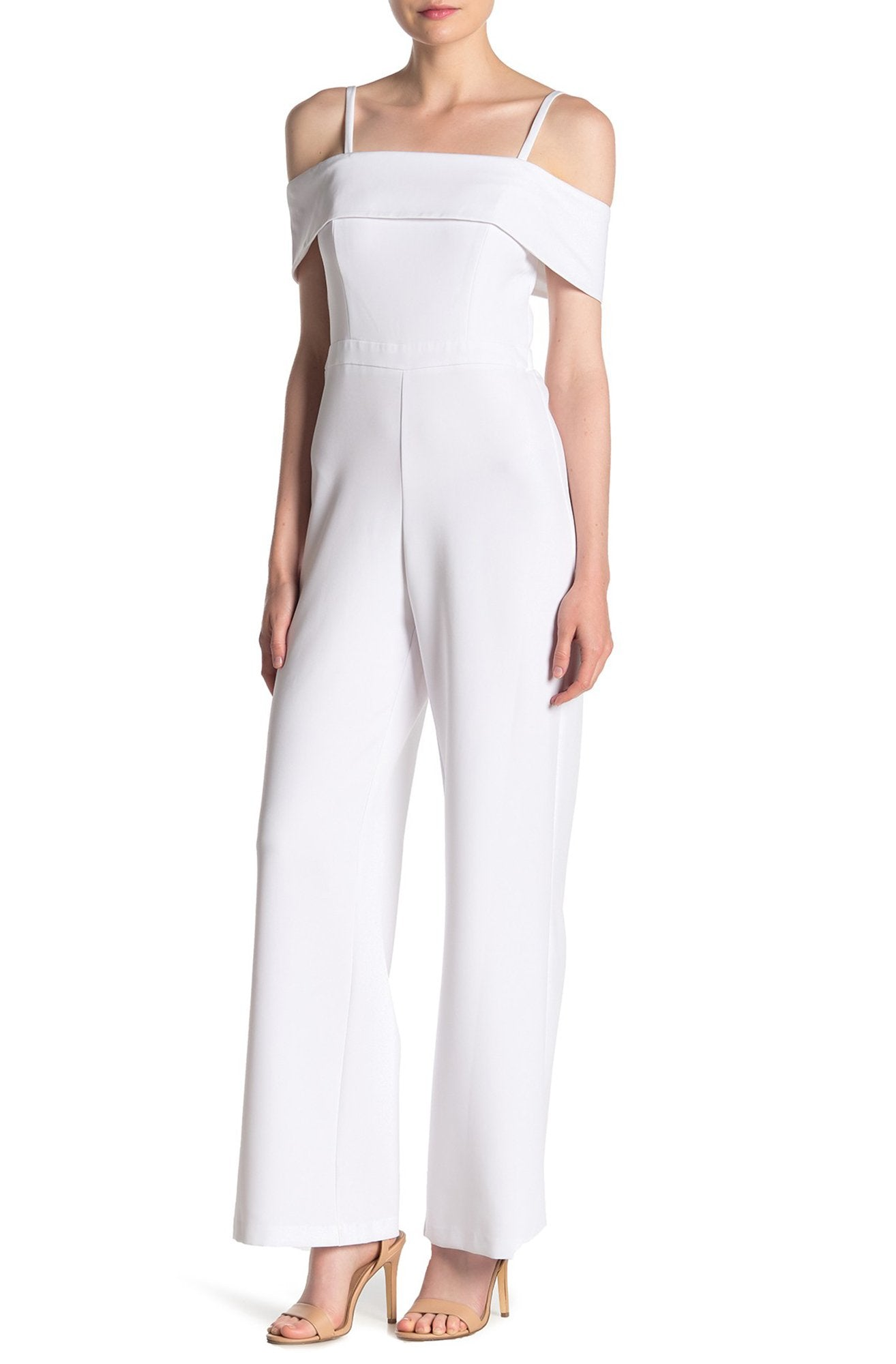 Laundry - HP01K57G Off-Shoulder Popover Crepe Jumpsuit In White